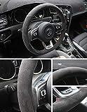 Pinalloy Synthetic Cashmere DSG Lenkradabdeckung für Golf 6 7 MK 6 7 GTI (passen Sie den Lenkraddurchmesser: 38 cm mit DSG Paddle Shifter) (Light Red Seil und Light Red Rope Mark)