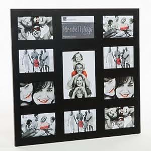 Cadre photo pêle-mêle mural coloris noir capacité 11 photos