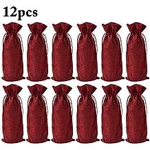 Funpa 12PCS Navidad Botella Bolsa Lino Decorativos Cordón Bolsa Vino Botella Bolsa