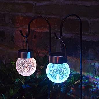 solalite set von 2 solar crackle ball kugelleuchte zum aufh ngen an haken mit farbwechsel led. Black Bedroom Furniture Sets. Home Design Ideas