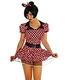 Your Design ERZ de Minnie Mouse Disfraz de mujer rojo/blanco rojo / blanco 48