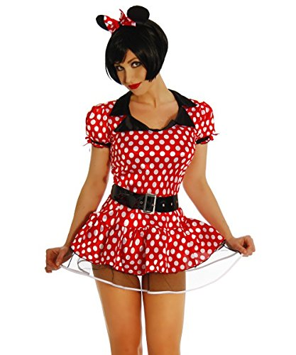 (Rotes gepunktetes Maus Kostüm Damen mit Petticoat Kleid und Ohren Verkleidung (3XL))
