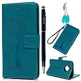 Motorola Moto G5 Plus Hülle YOKIRIN Case für Motorola Moto G5 Plus Lederhülle Etui Eule Baum PU Leder Schutzhülle Flip Bookcase Handyhülle Schale Karte Halterung Magnetverschluss Cover Tasche Blau
