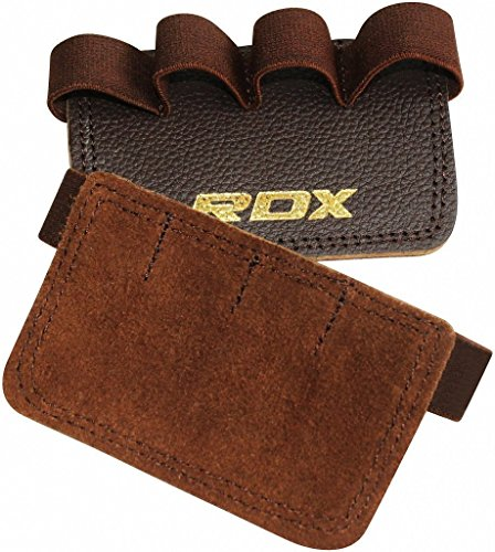 RDX Gym Leder Gewichtheben Griffe Krafttraining Griffpolster Fitness Griffpads (Cool Grip Pad)