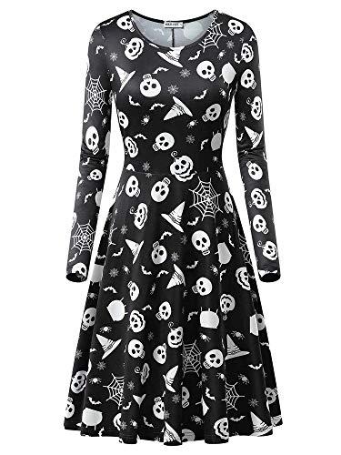 MSBASIC Halloween Kostüm Partykleid Damen Langarm Vintage Cocktailkleid Knielang Kleid Prom Kostüm Swing Kleid 8007-19 Small