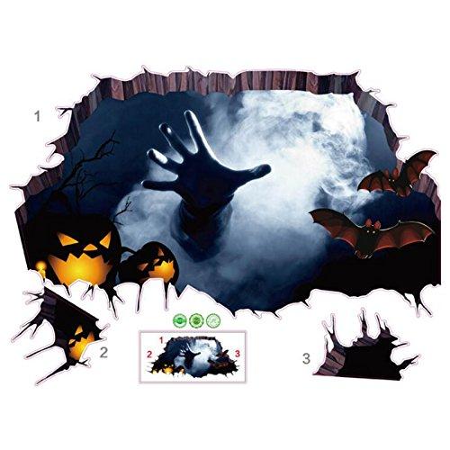 selig Horror 3D Vivid Mauer Erdgeschoss Abziehbild Aufkleber Halloween-Party-Haus-Wandbild DIY Dekoration Dekor Tapete Art (Scary Halloween Party Dekoration Diy)