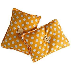 """ayuda a combatir el insomnio: Mini almohada Duerme Bien""""Yelow"""" (Pack de 2) rellenas de semillas lavanda orgáni..."""