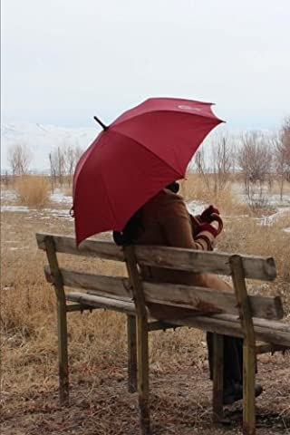 Sitting on a Bench with a Red Umbrella on a Rainy Day Journal: 150 Page Lined Notebook/Diary