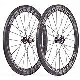 VCYCLE Nopea 700C Carbon Rennrad Laufradsatz 60mm Drahtreifen Scheibenbremse Breite 23mm kann Schnellverschluss Passen UD Matt (Standard QR)