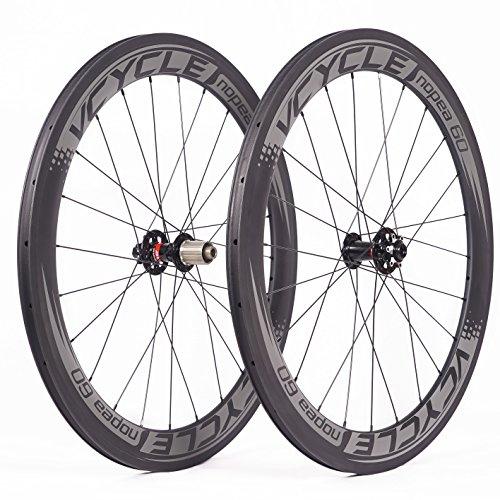 VCYCLE Nopea 700C Carbon Rennrad Laufradsatz 60mm Drahtreifen Scheibenbremse Breite 23mm kann Achsdurchführung Passen UD Matt (VORDERSEITE12*100mmRückseite12*142mm)