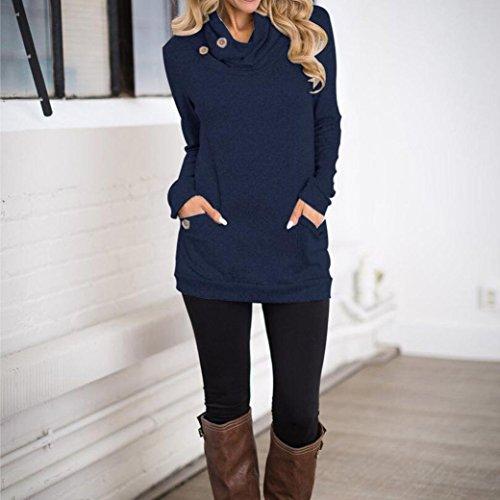 Tefamore Femmes Manches Longues Blanc Tricot Rivet Long Gaine Slim Tops Chemisier T-Shirt Bleu