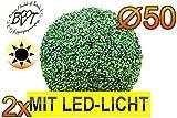 BTV 2X Premium Buchsbaum mit LED-Lichtband große Buchsbaumkugel Durchmesser 50 cm 500 mm grün dunkelgrün