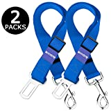 Aodoor Pet Dog Cat Car Safety Seat Belt Lead Restraint Harness Adjustable Safety Harness for Car Vehicle 18-27.5 Inch 2 Pack Blue