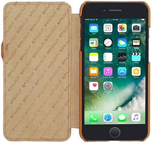 StilGut Book Type Case con clip, custodia in pelle cover per iPhone 7 (4,7) Chiusura a libro Flip-Case in vera pelle, Blu Scuro Nappa Rame Nappa - Carato