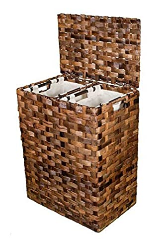 BirdRock Home Abaca Divided Flat Weave Laundry Hamper (Espresso) | Hand Woven | Machine Washable Cotton Canvas Liners by BirdRock (Weave Hamper)