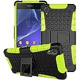 Sony Xperia Z2 Funda, SsHhUu Heavy Duty Amortiguamiento Cubrir Doble Capa Combinación de Armadura con Soporte Protector Cubrir Cover para Sony Xperia Z2 5.2 pulgada (Verde)