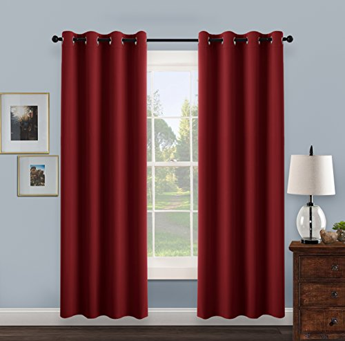 thermal insulated eyelet blackout curtains pony dance 52 in w by 95 inch l red 1 pair noise reducing thermal insulated room darkening blinds for