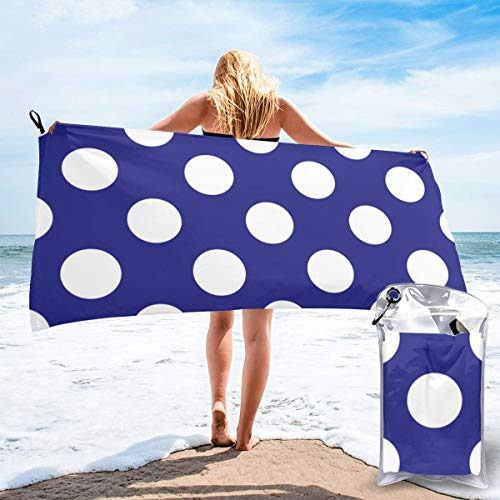 Geometric Candy Dot Circles White On Navy Blue Beach Quick Drying Towel Microfiber Yoga Fitness Absorbent Towel Outdoor Climbing Quick Drying Towel Blue Ribbon Candy