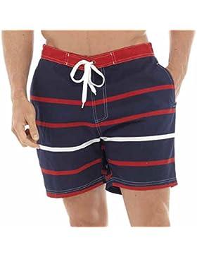 Hombre Brillante De rayas bañador pantalón corto Traje de baño Largo Hasta La Rodilla
