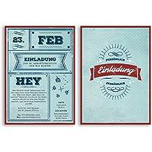 Einladungskarten Geburtstag (50 Stück) Vintage Retro Ticket Blau Rot Alt  Originell Witzig Lustig Geburtstagseinladungen
