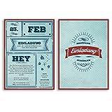 (60 x) Einladungskarten Geburtstag Vintage Retro Ticket Blau Rot Alt Einladungen