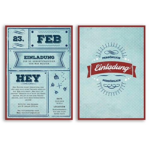 (20 x) Einladungskarten Geburtstag Vintage Retro Ticket Blau Rot Alt Einladungen