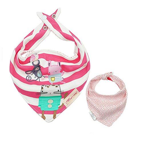 CuteOn Unisex Baby Bandana Geifer Lätzchen | Baumwolle Absorbent | mit verstellbarem Snaps | Spucktuch | für Neugeborene und Kleinkind - 34 Kitty (Kitty Bandana)