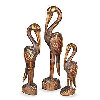Deko Figur Vogel Kokokan aus Albesia Holz braun im 3-er Set, Höhe 30/40/50 cm groß, Holzfigur Kunsthandwerk aus Bali handgefertigt