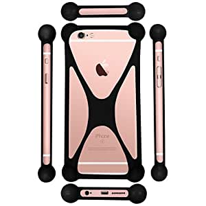 Casotec Universal Silicone Bumper Frame Soft Gel Phone Case Cover for Micromax Canvas 2 A110 - Black