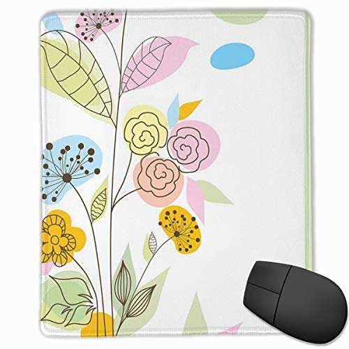 Mouse Mat Stitched Edges, Colorful Wildflowers With Line Art Design Abstract Composition Gentle Nature,Gaming Mouse Pad Non-Slip Rubber Base -