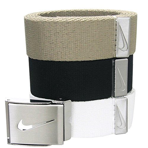 Nike Golf 3 in 1 Web Belt Pack One Size Weiß/Khaki/Schwarz (Nike Baumwolle Khaki)