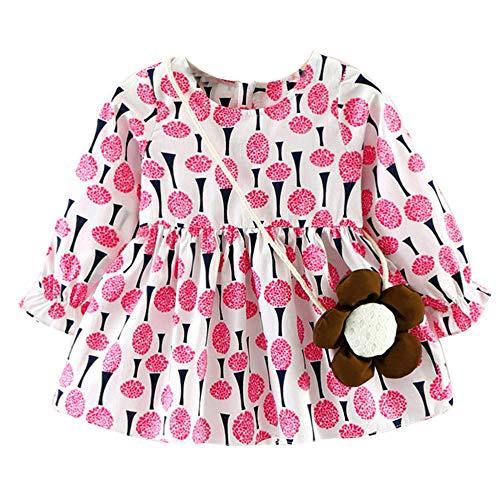 feiXIANG Mädchen Kleid Kostüm mit Tasche Casual Kleider Langarm Baby Kleinkind Dress Druckkleider Frühjahr Sommer ()