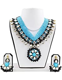 Fashionvalley Sky Blue & Black Crystal Beads Choker Kundan Designer Necklace And Earrings