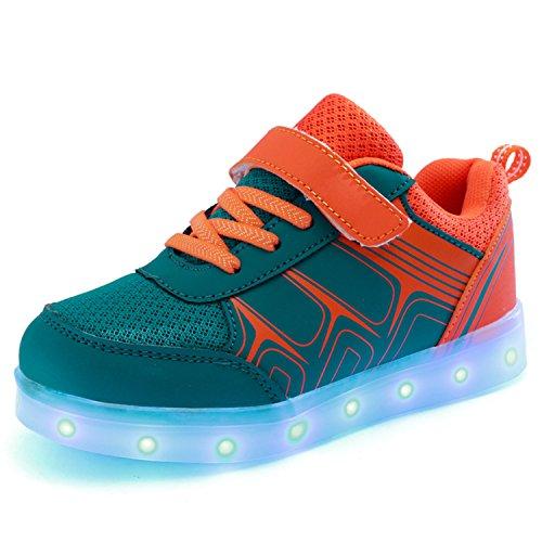 SGoodshoes Kinder USB Aufladen LED Schuhe blinken Fashion Sneakers für Jungen Mädchen Karneval Fasching Weihnachtsgeschenke Orange