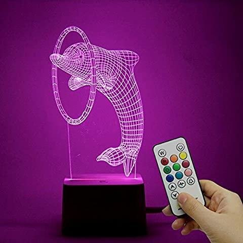 Dolphin circle creative gift acrylique crystal 3d lamp / touch night light