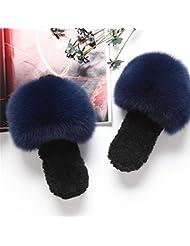 TUOXDJ Otoño/invierno de piel zapatillas de felpa cordero zorro abrigo usando zapatos de casa , g , 38