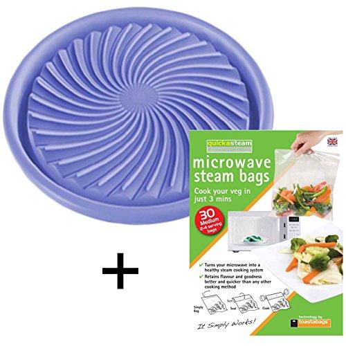 spares2go Universal Mikrowelle Abtauung/gesundes Kochen Teller + Dampfgarer Staubbeutel