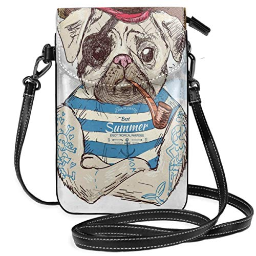 Women Small Cell Phone Purse Crossbody,Pirate Pug Conqueror Of The Seas Pipe Skulls And Bones Hat Striped Sleeveless T-Shirt Butterfly Sleeveless