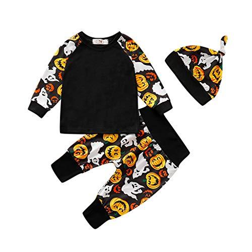 Jaysis Halloween Kürbis T Shirt Hosen Hut Outfits Set Langärmliges Top Faschingskostüm Festkleid Fancy Dress Up Kleidung Set Outfits Foto Fotografie Prop Babybekleidung (Hippie Kostüm Applique Set)