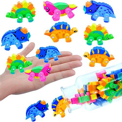 - 12 x Dino - Party Radierer 3D ┃ Jurassic Radierer┃ Dinosaurier ┃ Beweglich ┃ Kindergeburtstag ┃ 12 Stück (Halloween-park Minecraft)