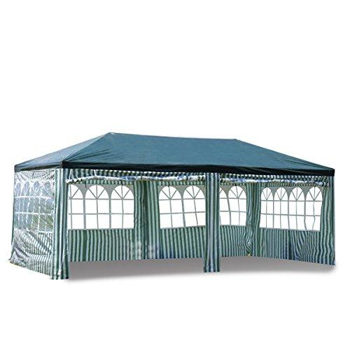 XH Gardenlife 3x6m Garten Wasserdicht Pavillon/Festzelt/Gartenpavillon/Verstellbare/Gartenzelt Beine PE, für Garten/Party/Hochzeit/Picknick, UV30+(Grün)