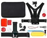 12-teiliges Zubehör Set und Hartschalen-Etui für VTECH KIDIZOOM Action Cam (80-170704) | KIDIZOOM Action Cam 180 (80-507003) Kinder Kameras