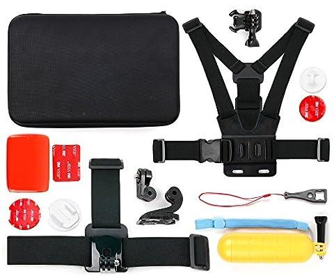 Mallette + kit complet (12 accessoires) pour Eyes GO, SAVFY et CCbetter CS720, CS810W 2.0 caméra embarquée - idéal en Ski, Surf, Paddle board, Vtt ,kayak etc... -