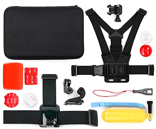 DURAGADGET Action Camera 14-in-1 Extreme Sports Essential Accessories Bundle with Hard EVA Case for ...