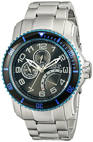 Invicta Pro Diver Men's Quartz Watch with Black Dial Analogue display on Silver Stainless Steel Bracelet 15339