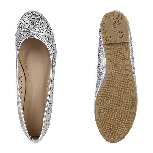 Klassische Damen Ballerinas Lederoptik Modische Schuhe Freizeit Silber Löcher