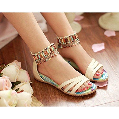 Dayiss Damen Sandalen mit Absatz Straß T-Strap Sommer Sandaletten Auslaufrabatt Beige-Strass