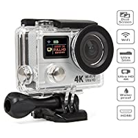 Action Camera 4K Ultra HD 12MP WIFI Sport Cam Waterproof Underwater 30M, Dual 2.0�?� LCD Screens, 170° Wide Angle Lens - 18 Accessories Kits