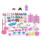 TOYMYTOY Accessori per Barbie con Scarpette Grucce Utensili da cucina pulizia e capelli di bambola per regalo di bambina