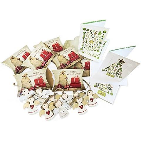 Juego de 30navidad Set compuesto de 10cajas de regalo retro vintage, 10tarjetas de Navidad Verdes DIN A6vertical con KUVERT y 10Colgantes de ángel (7cm.) De madera